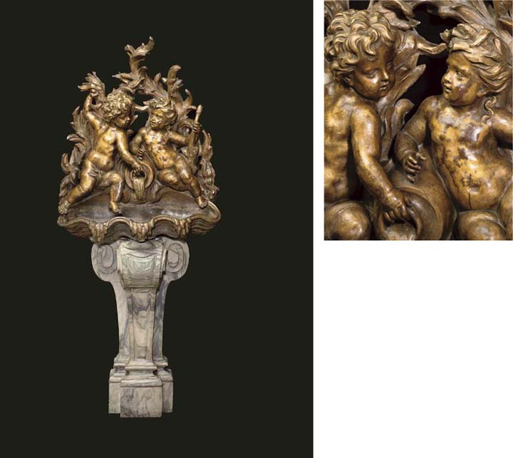 A French gilt-lead and cipolli