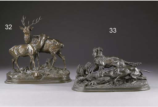A French bronze group of a stag and doe