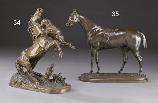 A French bronze group of stall