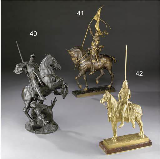 A French gilt-bronze equestria