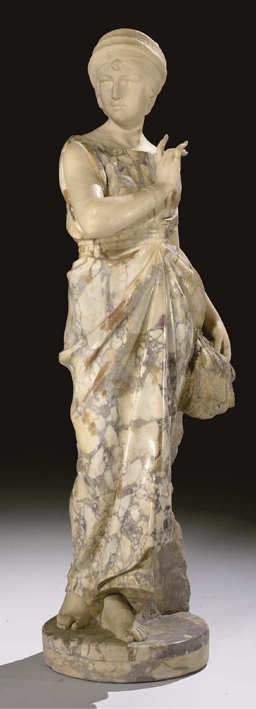 An Italian Breccia and Carrara marble figure of Ruth