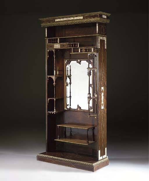 An Italian ivory, mother-of-pearl and brass-inlaid rosewood cabinet