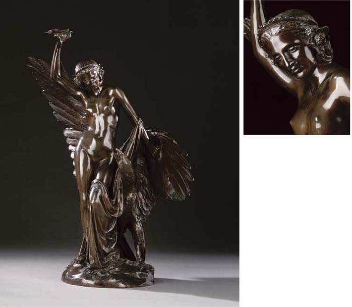 A French bronze group of Hebe
