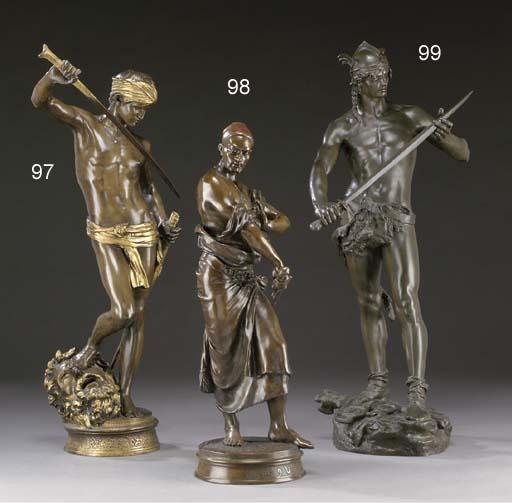 A French parcel-gilt bronze figure, entitled 'David Vainqueur'