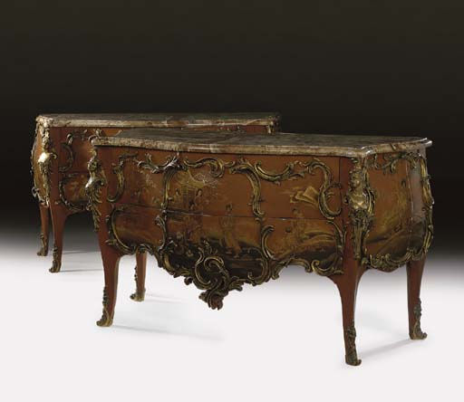 A pair of Louis XV style ormolu-mounted lacquered bombe commodes