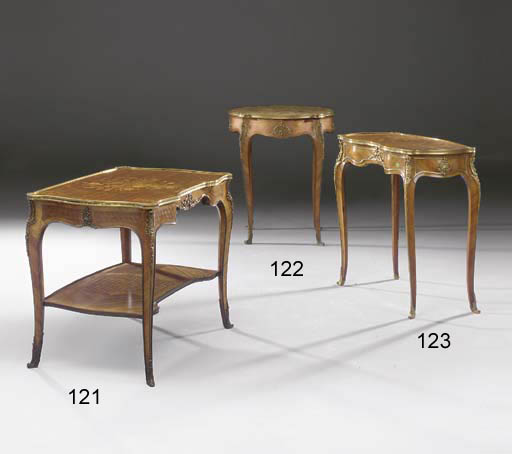 A Louis XV style ormolu-mounted kingwood and marquetry occasional table