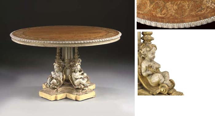 An English satinwood, marquetr