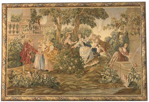 A framed Aubusson style tapest