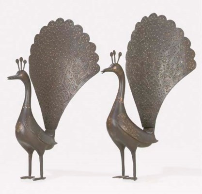 A PAIR OF QAJAR GOLD AND SILVE
