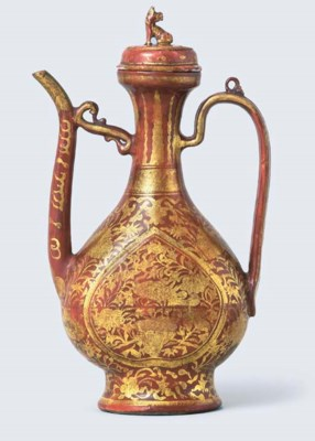 AN IRON-RED AND GILT-DECORATED
