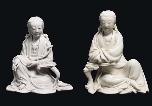 TWO BLANC-DE-CHINE SEATED FIGU