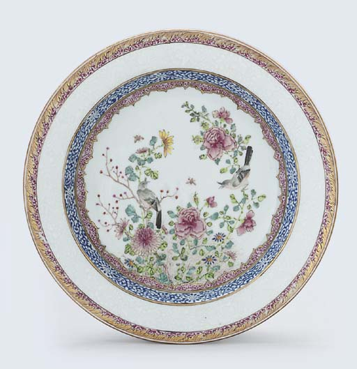 A FAMILLE ROSE DEEP PLATE
