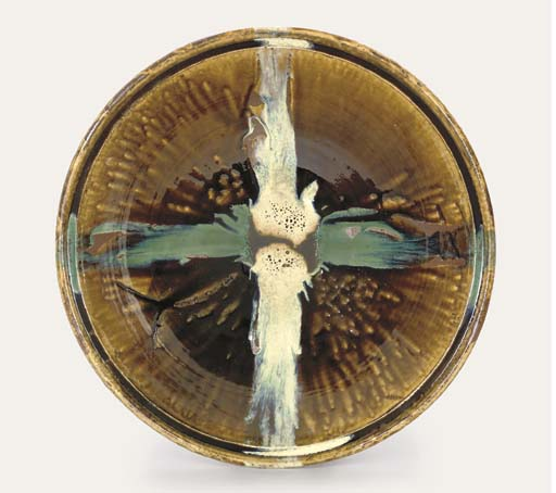 A Large Stoneware Dish by Hamada Shoji (1894-1978)