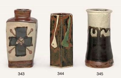 A stoneware vase by Hamada Sho