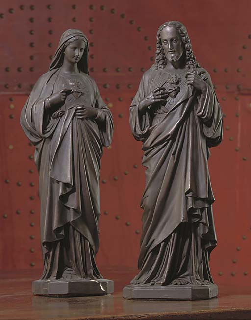 A PAIR OF BRONZED PLASTER FIGURES OF CHRIST AND THE VIRGIN