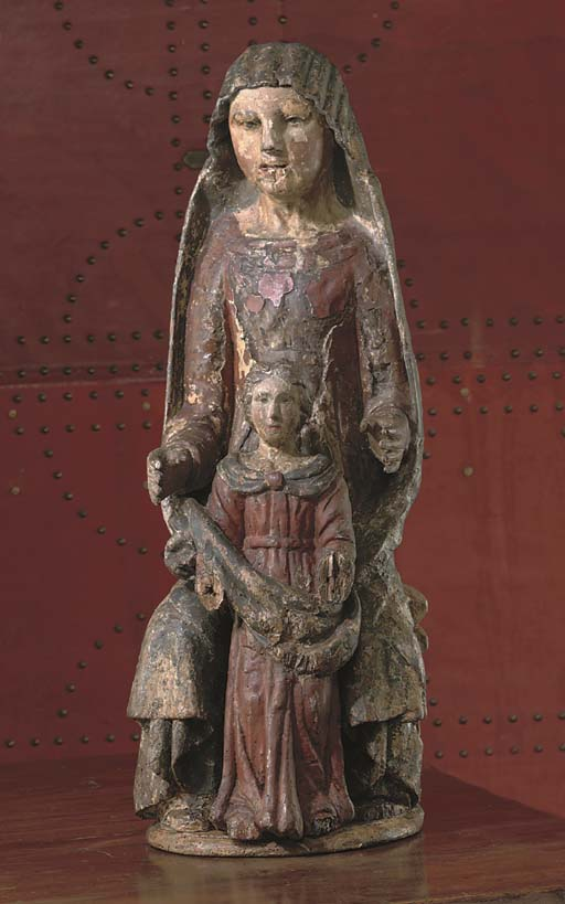 A POLYCHROME CARVED WOOD GROUP OF THE VIRGIN AND CHILD