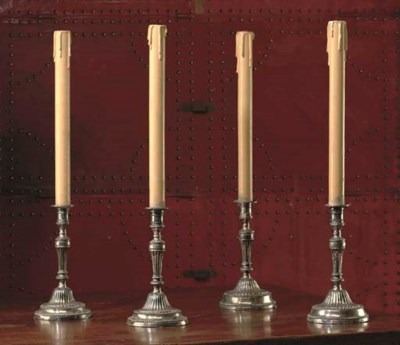 A SET OF FOUR SILVERED BRASS C