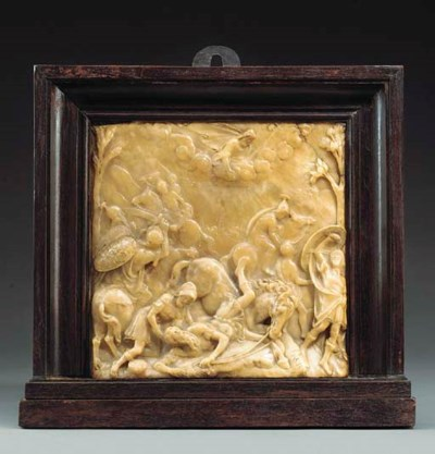 A SQUARE CARVED ALABASTER RELI