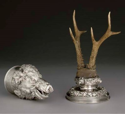 AN AUSTRIAN SILVER AND ANTLER