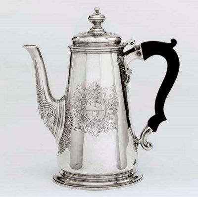 A GEORGE II SILVER COFFEE-POT