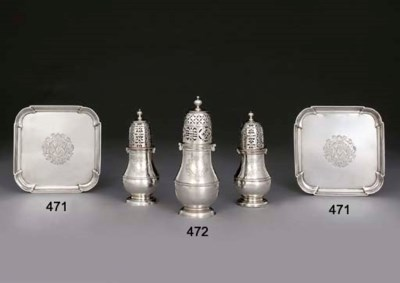 A PAIR OF GEORGE I SILVER SALV