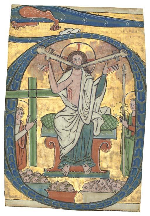 CHRIST IN JUDGEMENT, historiated initial D, cut from a Psalter, ILLUMINATED MANUSCRIPT ON VELLUM