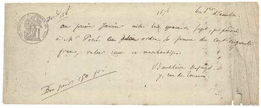 BAUDELAIRE, Charles-Pierre (1821-1867). Autograph document signed ('Baudelaire Dufaÿs'), a promissory note to his tailor, M.Porée, 7 rue de Tournon, [Paris], 1 December n.y. [1846], one page, 97 x 242mm, endorsements on verso by Porée to Monsieur Balin, receipted by the latter, and again finally by Emilie Porée for 150 francs from Monsieur Ancelle 'pour solde du present billet' on 24 January 1872 (slightly creased in right hand edge, small pin holes and tiny nicks in bottom right hand corner).