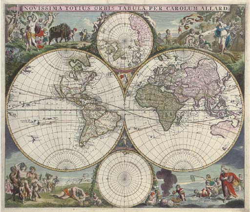 ALLARD, Carel (1648-c.1706). Novissima Totius Orbis Tabula. Amsterdam: [c.1710]. Hand-coloured engraved twin hemisphere map of the world surmounted by north and south polar projections, (490 x 582mm). The map embellished with decorative allegorical vignettes at each corner, with Allard's imprint and privilege. (Small tear outside plate area, light browning.) Window mount. Shirley 517.