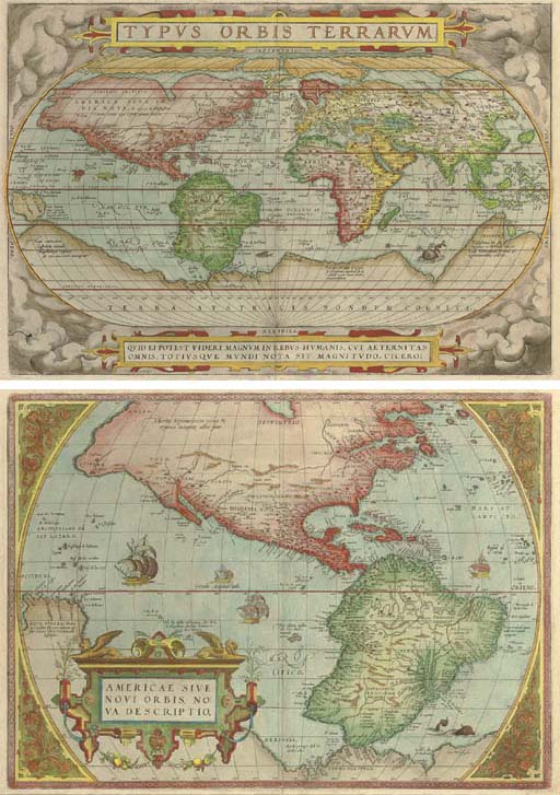 ORTELIUS, Abraham (1527-1598). [WORLD AND CONTINENTS] -- Typus Orbis Terrarum. [Antwerp: 1573]. Hand-coloured engraved map of the world on an oval projection (331 x 490mm). Title set in central stapwork cartouche, seas decorated with sea monsters and galleons. (Wear along centrefold, light browning.) Window mount.