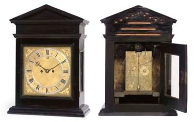 A Charles II ebony table clock