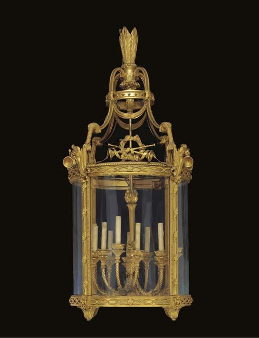 A FRENCH ORMOLU HALL-LANTERN