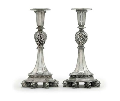 TWO GEORGE V SILVER CANDLESTIC