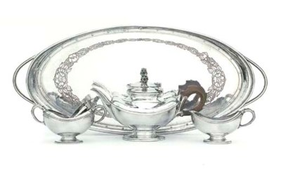 A FOUR-PIECE GEORGE V SILVER T