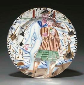 A large Soviet porcelain propaganda dish