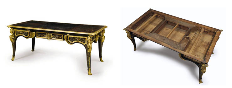 A LOUIS XIV ORMOLU-MOUNTED AND BOULLE BRASS-INLAID BROWN TORTOISESHELL BUREAU PLAT