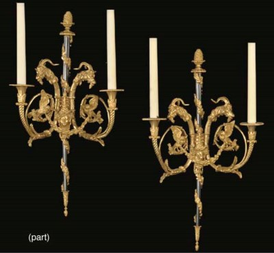 TWO PAIRS OF ORMOLU AND PATINA