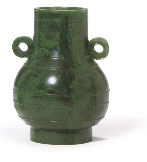 A CHINESE SPINACH JADE VASE, HU