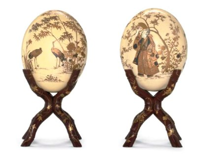 TWO OSTRICH EGGS