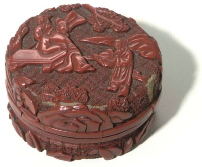 A CHINESE CARVED CINNABAR LACQ