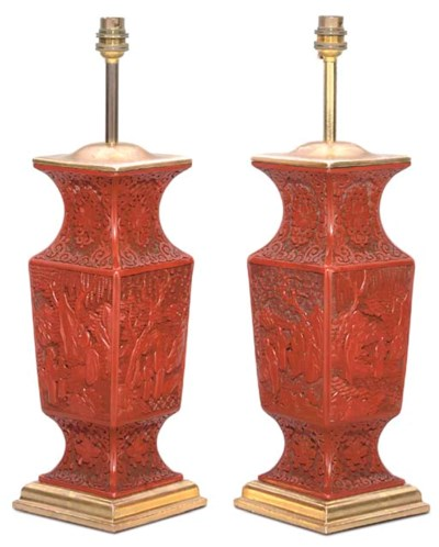 A PAIR OF CHINESE CARVED CINNA