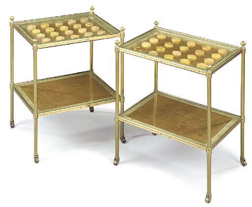A PAIR OF PARCEL-GILT AND GREEN-PAINTED TWO-TIER BRASS ETAGERES