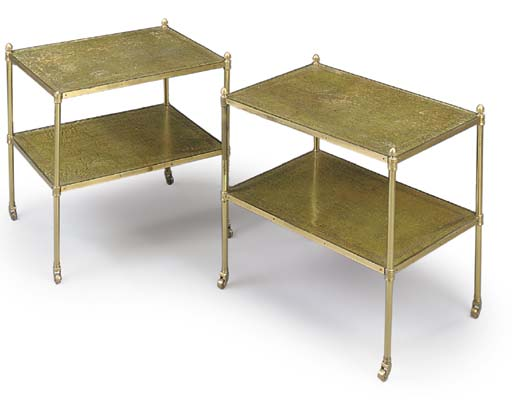 A PAIR OF LACQUERED-BRASS AND GREEN LEATHER TWO-TIER ETAGERES
