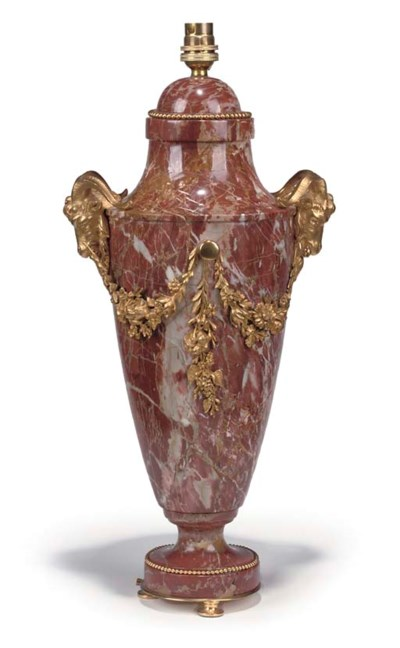 AN ORMOLU AND RED BRECCIA MARB