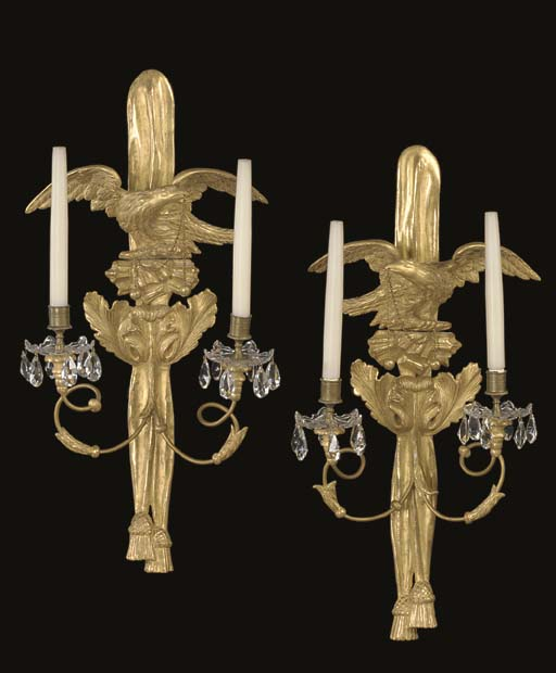 A PAIR OF GILTWOOD TWO-LIGHT WALL-LIGHTS