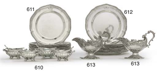 A SET OF FOUR GEORGE IV SILVER SALT-CELLARS AND SPOONS