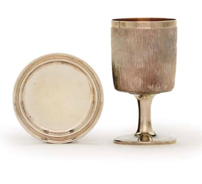 A SILVER GOBLET AND A SMALL DI