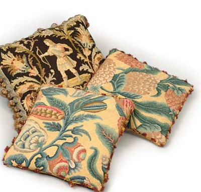 A PAIR OF ENGLISH PETIT POINT