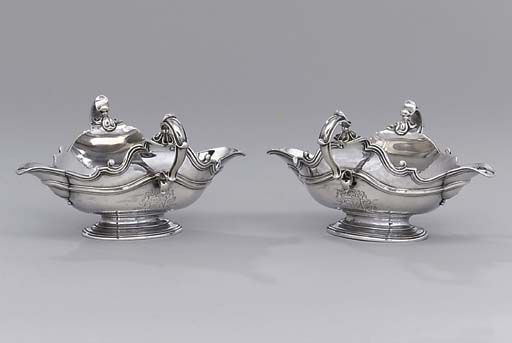 A pair of George I silver sauc