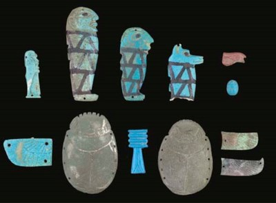 A GROUP OF EGYPTIAN GLAZED COM