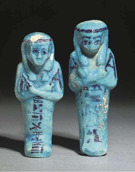 TWO EGYPTIAN BLUE GLAZED COMPOSITION SHABTIS